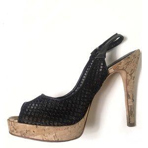 Aldo fishnet peep toe slingback platform heels